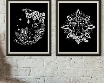 set of 2 sun and moon GoT inspired prints