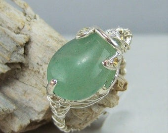 R406, Aventurine Teardrop Wire Wrapped Ring