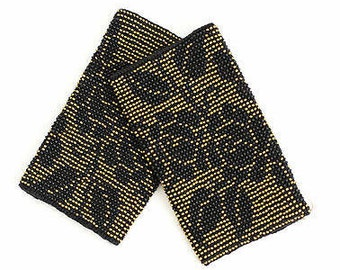 Beautiful Wrist Warmers / Arm Warmers with Gold and black color Czech beads in rose pattern