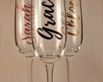 Personalised Vertical Name Premium Champagne Flute