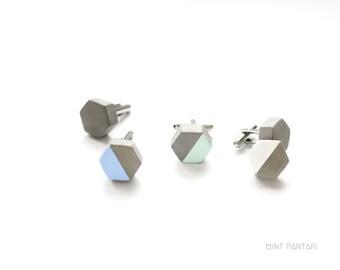 Concrete hexagon cufflinks, graphic honeycomb jewelry, geometric cufflinks, pastel mint white blue cufflinks, bestman and husband gift