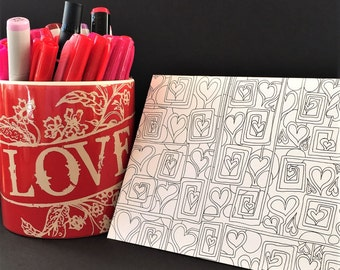 A Maze of Hearts Black and White Coloring Card