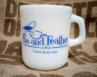 Milk Glass Cup - Fin and Feather Lodge on Toledo Bend Lake
