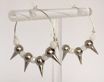 Silver hoops, Silver plated hoop earrings with white glass and metal beads