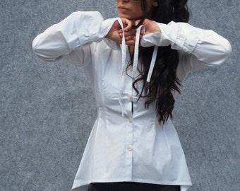 ASYMMETRIC cotton shirt/white cotton shirt/poplin shirt/casual white shirt/open back shirt/extravagant shirt/asymmetric cotton tunic
