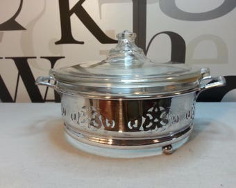 Vintage Pyrex Serving Dish in Silver Holder  FREE SHIPPING