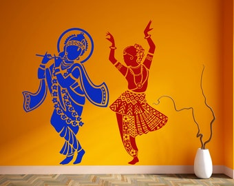 Radha Krishna Wall Sticker Vinyl Hindu God Decal Dancing Stencil Wall Art Gift
