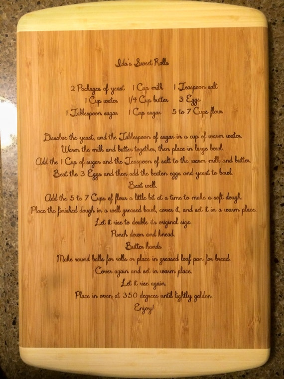 Personalized Engraved 18 By 12 Bamboo 2 Tone Cutting