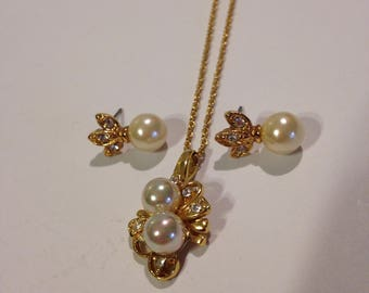 """Vintage Signed Roman 18"""" Crystal and Faux Pearl Pendant and Matching Earrings Set"""