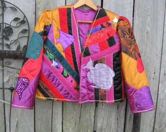 Sale ! lady JACKET designed and created by brenda heaton 1993  quilt JACKET  hand made JACKET  qiulied coat  free shipping in the u s a