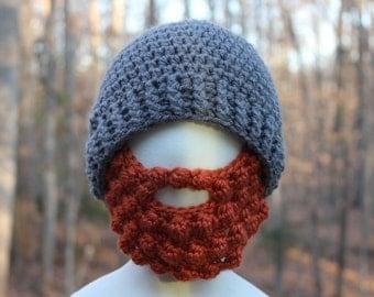 Beard Hat Grey Hat Orange Beard Crochet Beard Beanie Hat Beard Hat With Detachable Beard