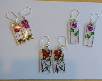 Handmade original earrings - shrink plastic