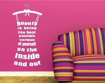 Beauty Dress Wall Sticker Quote, Motivational Decal- Vinyl Wall Art Sticker Design For Home Decor UK. Mural, Wallpaper, Gift
