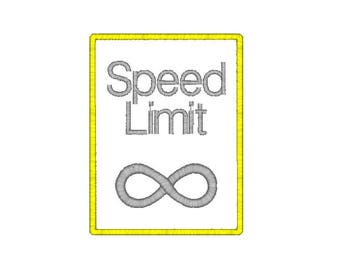 Speed Limit Street Sign Machine Embroidery Design, infinity embroidery design, new driver embroidery, teenager embroidery design