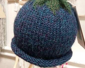 Knit Berry Hat/Toque / Toddler /Kid Blue Wool/Alpaca / Tweed