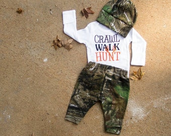 Camo coming home outfit,toddler camo outfit,newborn camo outfit,camo baby outfit,camo baby gift,baby shower gift,crawl walk hunt,camouflage