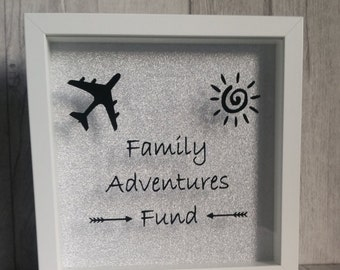 Money box frame, Family adventures fund, money box, savings fund