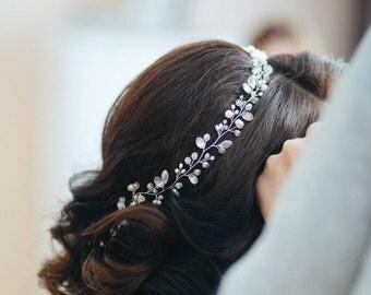 Ivory Pearl Bridal Wreath, Crystal Wedding Crown, Bridal Hair Piece