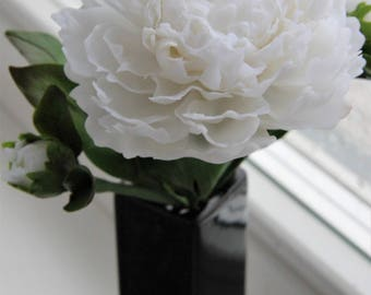 Peony flower,artificial flowers,Made to order,art,gifts,Flower Arrangement,Cold porcelain,Home Decor,Real touch peony,Clay Craft,White peony