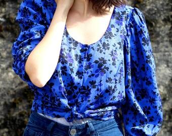 Floral Silk Crop Blouse