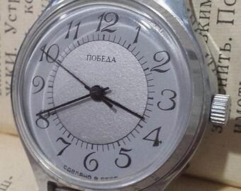 New watc,Men's watch Pobeda,Men's Vintage Watch,Pobeda Victory,Mechanical USSR watch with rare dial,watch him,Soviet watch 80s,wrist watch