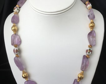 Amethyst Nuggets, Gold and Cloisonné Necklace, Bracelet and Earrings Set