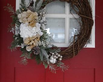 Silver and Gold Winter Hydrangea Wreath