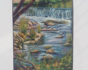 Pastel Landscape Painting Drawing River Art Original Waterfall Rhode Island Art Laurie Lynn Lawton
