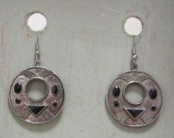 Silvertone Earrings with black enamel details for pierced ears