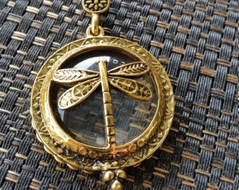 Dragonfly Antique Magnifying Glass Pendant Necklace
