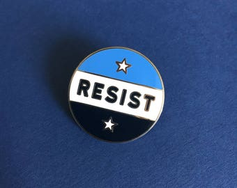 RESIST Pin Badge, High Quality Metal Button, Resistance, Pins, Pin Badge, Badges, Buttons, Anti Trump, March For Science, Feminist, Enamel