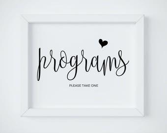Wedding Program Sign, Printable Program Sign, Wedding Programs, Printable Signage, Reception Sign, Programs Please Take One, DIGITAL PDF