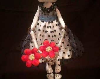 Skeleton Folk Art Doll / Whimsical Skeleton Art Doll / Halloween Folk Art Doll