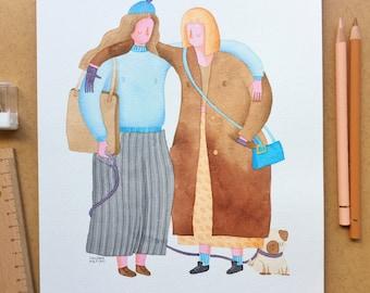 Portrait personnalisé, portrait de famille, bff, portrait de l'amitié