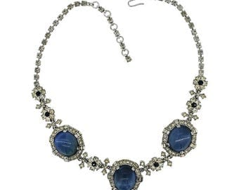 Ciner 1940s Blue Moonstone Vintage Jewellery Set