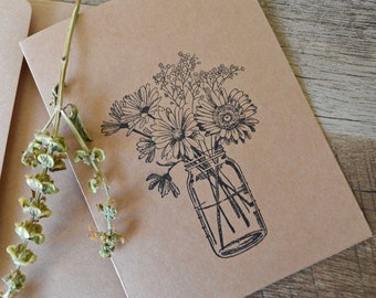 mason jar flowers handstamped blank notecards and envelopes