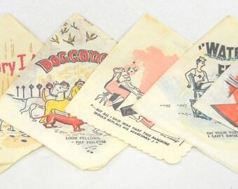 Collection of Six Vintage 50's Novelty Paper Bar Napkins