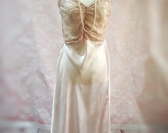 The Odette- art deco,30s,40s vintage,silk, lace,pink, nightgown, sleepwear, petticoat, pinup, rockabilly, bridal, gift for her, birthday