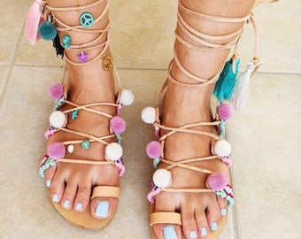 "Bohemian sandals ""Mammoet"", Greek leather sandals"