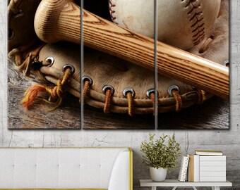 Baseball print set, Baseball decoration, Sport wall art, Baseball art room, Baseball wall decal, Baseball party decor, Canvas sports decor