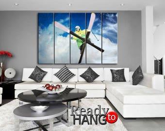 Skier canvas, Skier art, Skier wall art, Skier print, Skier poster, Skier home decor, Gift for him, Skier room art, Skier wall decor, Skier