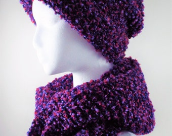 Chunky Knit Hat and Scarf Set, Ski Hat & Scarf Set, Winter Women Accessorries, Valentines Day Gift, Winter Hat and Scarf Set, Large Scarf