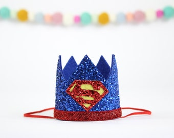 Superman Birthday Crown | Superhero birthday | First Birthday Outfit Boy | Boy Birthday | Birthday Photo Prop Hat | Red Yellow and Blue