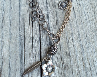Flowers and Feathers Necklace