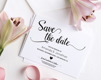 Wedding Save the Date Template - Save the Date Printable - Wedding Printable - Calligraphy save the date - Downloadable wedding #WDH101_6