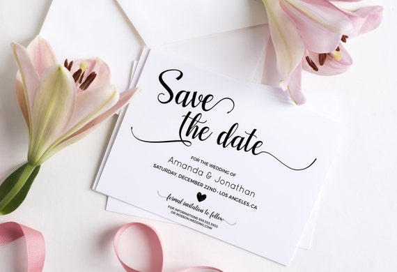 Wedding Save the Date Template - Save the Date Printable - Wedding Printable - Calligraphy save the date - Downloadable wedding #WDH0110