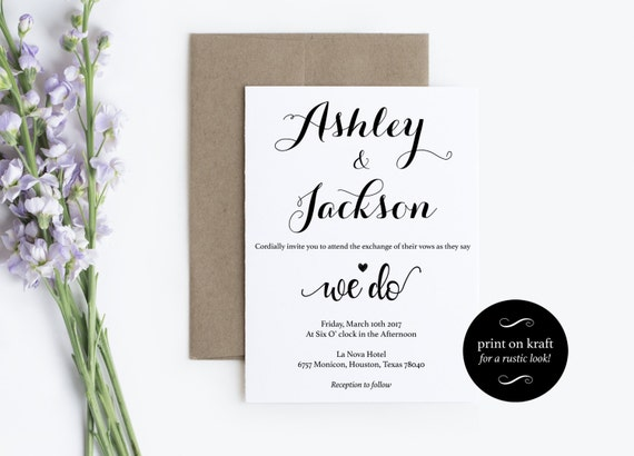 Wedding Invitation - We Do Invitation - Wedding Printable - Print on kraft - Instant download wedding invitation - Kraft Invitation #WDH0259