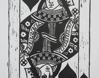 Queen of Hearts woodcut print