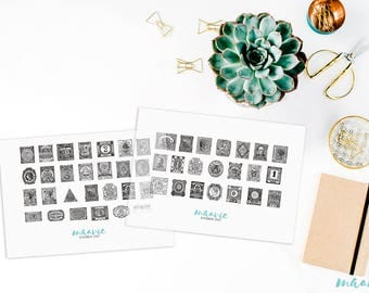 Black vintage Stamps, transparent stickers