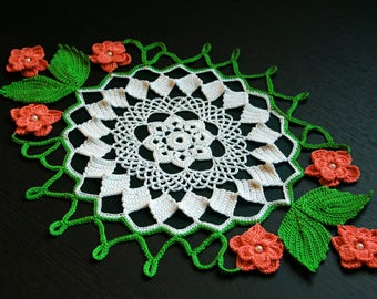 Colourful Crochet Doily Crochet Flower Home Decor Gift for Mother Table Topper Table Decoration Tablecloth Table Centerpiece white green red